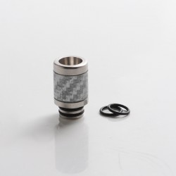 Authentic Reewape AS316 510 Drip Tip for RDA / RTA / RDTA / Sub Ohm Tank Vape Atomizer - Silver, SS + Carbon Fiber, 20mm