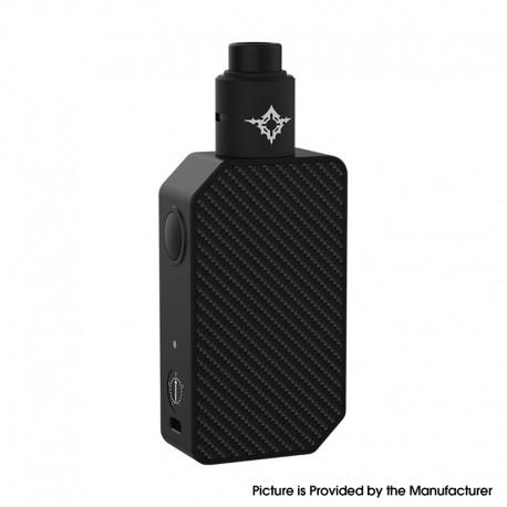 Authentic Rincoe Manto Beast 228W VV Box Mod + Metis RDA Atomizer Vape Kit - Carbon Black, 2 x 18650