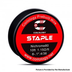 Authentic Coilology Staple Spool Wire for RDA / RTA / RDTA Vape Atomizer - Ni80, 8-0.1 x 0.4/36GA, 1.15ohm/ft, 10ft