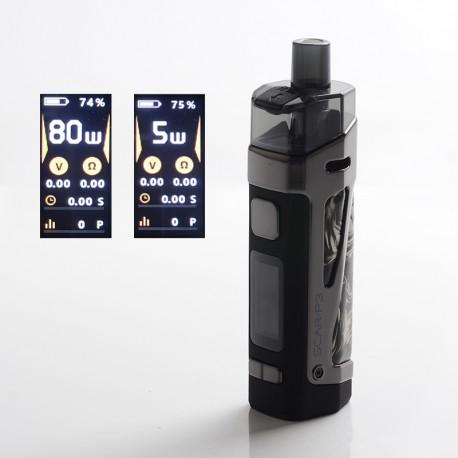 Authentic SMOKTech SMOK SCAR-P3 80W 2000mAh VW Box Mod Pod System Vape Starter Kit - Fluid Black White, Zinc Alloy, 5~80W