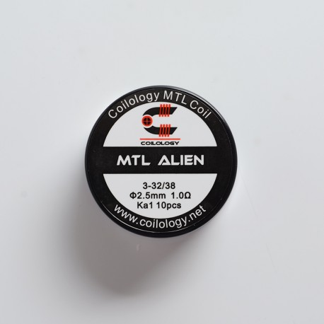 Authentic Coilology Pre-built MTL Alien Wire Coil for RDA / RTA / RDTA Vape Atomizer - 32 x 3GA + 38GA, KA1, 1.0ohm (10 PCS)