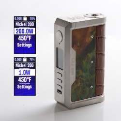 Authentic Lost Vape Centaurus DNA 250C 200W TC VW Vape Box Mod - SS/Crocodile Stabwood, 2 x 18650, 1~200W, 200~600'F