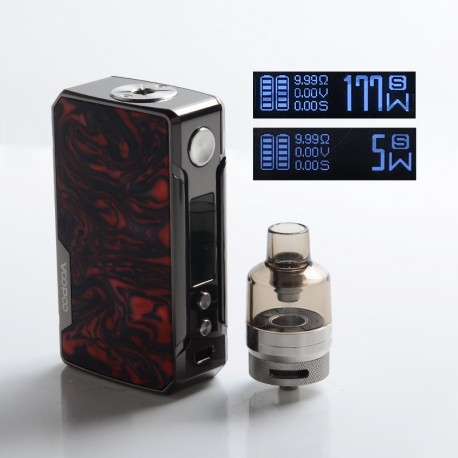 Authentic VOOPOO Drag 2 Platinum 177W VW Mod Kit w/PnP Tank - B-Scarlet, 4.5ml, 5~177W, 2 x 18650 (Refresh Standard Edition)