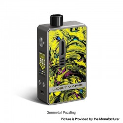 Authentic Lost Vape Gemini Hybrid Pod System Vape Mod Kit - Gun Metal Puzzling, 5~80W, 1 x 18650, 4.0ml, 0.2 / 1.0ohm