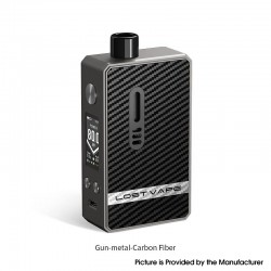 Authentic Lost Vape Gemini Hybrid Pod System Vape Mod Kit - Gun Metal Carbon Fiber, 5~80W, 1 x 18650, 4.0ml, 0.2 / 1.0ohm