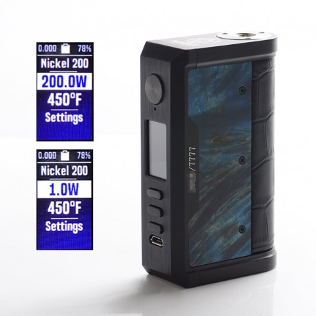 Authentic Lost Vape Centaurus DNA 250C 200W TC VW Vape Box Mod - Black/Crocodile-Stabwood, 2 x 18650, 1~200W, 200~600'F