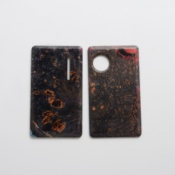 SXK Replacement Front + Back Door Panel Plates for dotMod dotAIO Vape Pod System - Black Red, Stabilized Wood (2 PCS)