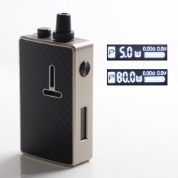 Authentic Mechlyfe Ratel XS 80W TC VW DL / MTL Rebuildable AIO Pod System Vape Kit - Brushed SS & Carbon Fiber, 5~80W, 1 x 18650