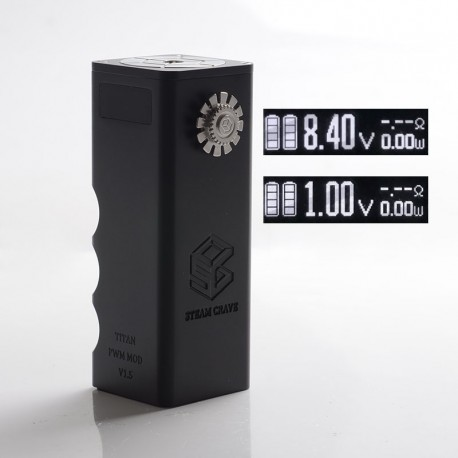 Authentic Steam Crave Titan PWM V1.5 300W VV Variable Voltage Vape Box Mod - Black, 0.1~8.4V, 4 x 18650