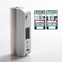 Authentic Cthulhu Hastur 88W TC VW Variable Wattage Vape Box Mod - Silver, 5~88W, 200~600'F, 1 x 18650, Atom Chip
