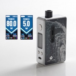 Authentic Lost Vape Gemini Hybrid Pod System Vape Mod Kit - SS Glacier, 5~80W, 1 x 18650, 4.0ml, 0.2 / 1.0ohm