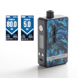 Authentic Lost Vape Gemini Hybrid Pod System Vape Mod Kit - Black Marine, 5~80W, 1 x 18650, 4.0ml, 0.2 / 1.0ohm
