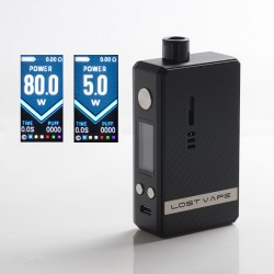 Authentic Lost Vape Gemini Hybrid Pod System Vape Mod Kit - Black Carbon Fiber, 5~80W, 1 x 18650, 4.0ml, 0.2 / 1.0ohm