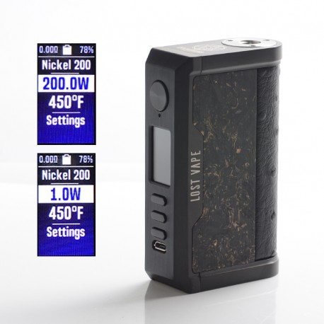 Authentic Lost Vape Centaurus DNA 250C 200W TC VW Vape Mod - Black/ Gold Chopped Carbon Fiber, 2x18650, 1~200W, 200~600'F