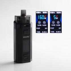 Authentic SMOKTech SMOK RPM160 160W Dual-18650 Pod System Vape Mod Kit with V9 Pod Cartridge - Black, 5~160W, 2 x 18650