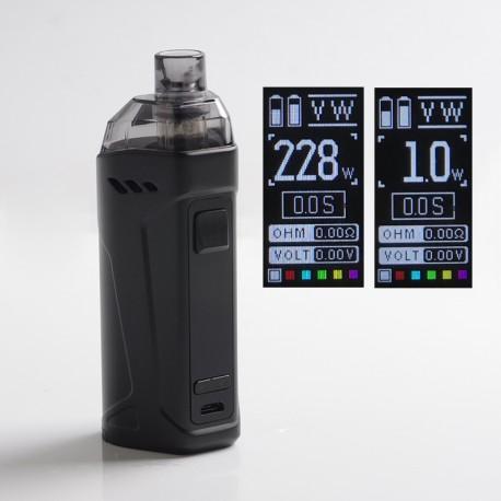 Authentic Rincoe Manto Max 228W Triple AIO TC VW Pod System Mod Vape Kit - Black, 1~228W, 8.0ml, 0.2 / 0.3ohm, 2 x 18650