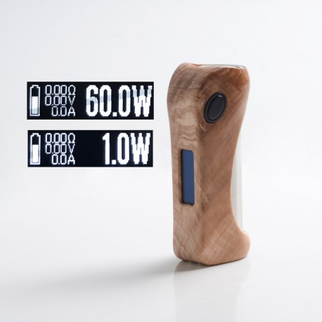 Authentic ULTRONER Alieno 60W TC VW Variable Wattage Vape Box Mod - Wood, Stabilized Wood, 1~60W, 1 x 18650, DNA 60 Chipset