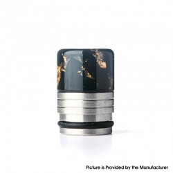 Authentic REEWAPE AS318 810 Drip Tip for RDA / RTA / RDTA / Sub Ohm Tank Vape Atomizer - Black Gold, Resin & SS, 20mm