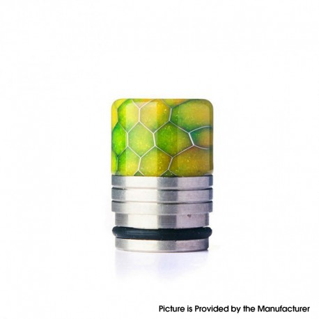 Authentic REEWAPE AS318S 810 Drip Tip for RDA / RTA / RDTA / Sub Ohm Tank Vape Atomizer - Yellow, Resin & SS, 20mm