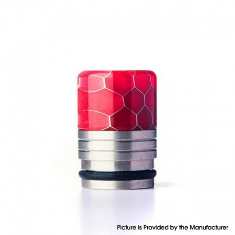 Authentic REEWAPE AS318S 810 Drip Tip for RDA / RTA / RDTA / Sub Ohm Tank Vape Atomizer - Red, Resin & SS, 20mm