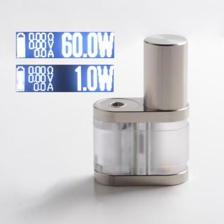 Stratum Balance Style 60W TC VW Vape Box Mod - Translucent + Silver, PC + Stainless Steel, 1~60W, 1 x 18350 / 18650