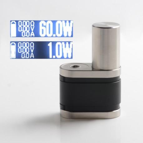 Stratum Balance Style 60W TC VW Vape Box Mod - Silver + Black, POM + Stainless Steel, 1~60W, 1 x 18350 / 18650