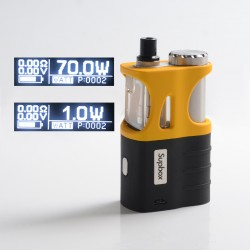 Authentic SXK Supbox 70W TC VW Vape Box Mod Kit - Black + Yellow, Variable Wattage 1~70W, 1 x 18650 / 18350, SEVO-70 Chipset