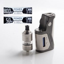 Authentic Kizoku Techmod 80W TC VV VW Box Mod Vape Starter Kit + Limit MTL / DTL RTA Tank - Gun Metal, 3.0ml, 1 x 18650