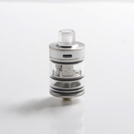 Authentic Auguse Khaos RDTA Rebuildable Dripping Tank Vape Atomizer w/ BF Pin - Full Silver, SS + Glass / PC, 22mm, 2.0ml