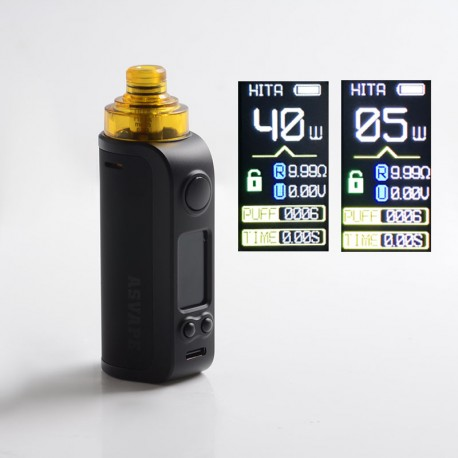 Authentic Asvape Hita Ink 40W Pod System Vape Mod Kit - Black, 1500mAh, 5~40W, 5.0ml