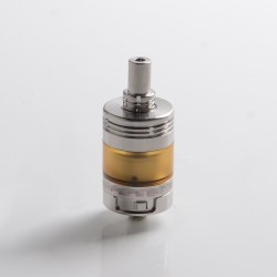 Elite Experiment 3 V3 Style MTL RTA Rebuildable Tank Vape Atomizer - Silver + Translucent Brown, SS, 2.5ml, 22mm Diameter