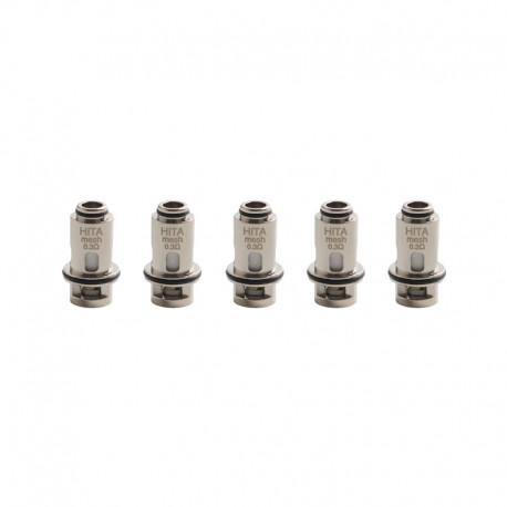 Authentic Asvape Hita Mech Mod RBA Pod Vape Kit / Hita Ink Kit Replacement DTL Mesh Coil Head - Silver, 0.3ohm (5 PCS)