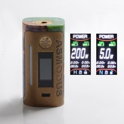 asMODus Lustro 200W Stabilized Wood Box Mod Brass Relic Edition - Purple, 5~200W, 2 x 18650, Stabilized Wood + Brass