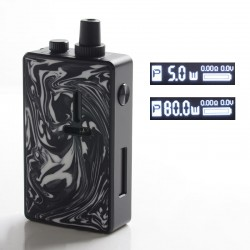 Authentic Mechlyfe Ratel XS 80W TC VW DL /MTL Rebuildable AIO Pod System Vape Kit - Black & Resin White, 5.5ml, 5~80W, 1 x 18650