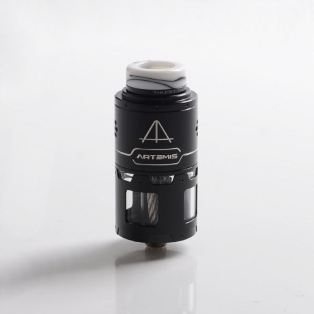 Authentic ThunderHead Creations THC Artemis RDTA Vape Atomizer w/ BF Pin - Silver + Black, SS + Glass, 4.5ml, 24mm Diameter