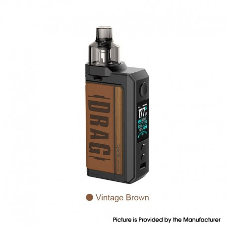 [Ships from HongKong] Authentic Voopoo Drag Max 177W VW Pod System Vape Box Mod Kit - Vintage Brown, 5~177W, 2 x 18650, 4.5ml