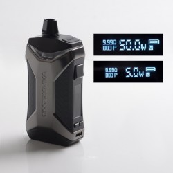 [Ships from HongKong] Authentic Vaporesso XIRON 50 1500mAh VW Pod System Vape Mod Kit - Black, 5~50W, 5.5ml, 0.3 / 0.8ohm