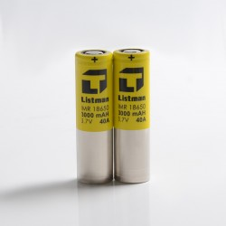 [Ships from Battery Warehouse] Authentic Listman IMR 18650 3000mAh 40A Flat Top Li-ion Rechargeable Battery for Mod - (2 PCS)