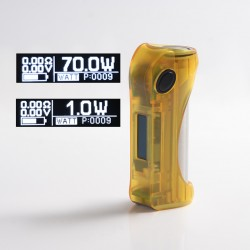 Authentic ULTRONER Alieno 70W TC VW Variable Wattage Vape Box Mod - Translucent Yellow, ABS, 1~70W, 1 x 18650, SEVO 70 Chipset