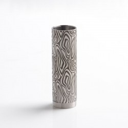 SXK CinqueTerre Style 70W Mod Replacement 18650 Battery Tube - Silver + Black, SS, Wave line Pattern