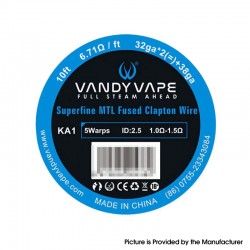 Authentic Vandy Vape A1 Superfine MTL Fused Clapton Wire for RDA / RTA / RDTA Vape Atomizer - 32GA x 2 + 38GA (10ft)