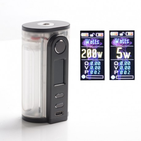 Authentic Ultroner x Fallout Vape Gaea 200W Vape Box Mod - Clear Frosted, 5~200W, 2 x 18650 / 20700 / 21700, Sevo 200C Chipset