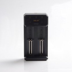 Authentic Golisi L2 2A Smart USB Charger with LCD Screen for 18650 / 26650/ 21700 Battery - Black, Dual-Slot