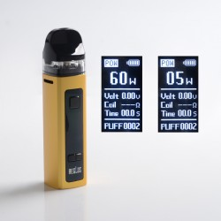 Authentic Uwell Aeglos Pod System Vape Mod Kit - Gold, VW 5~60W, 1500mAh, 3.5ml, MTL 0.8ohm Coil / DL 0.23ohm Coil