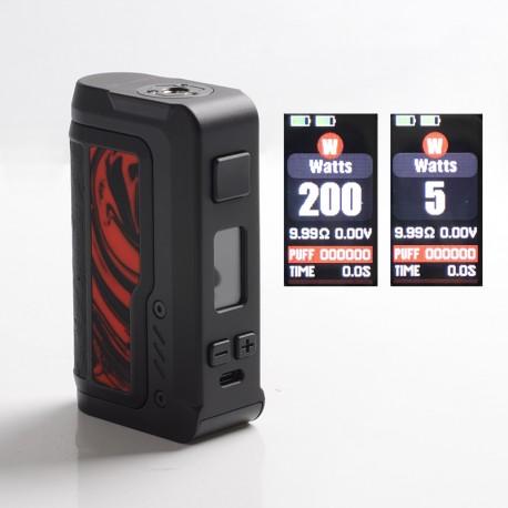 Authentic Vandy Vape Gaur-21 200W Dual 21700 Vape Box Mod - Flame Red Resin, VW 5~200W, 2 x 18650 / 21700