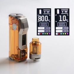 Authentic Rincoe Jellybox Mini 80W Box Mod with Jellytank Kit - Amber Clear, 1 x 18650/20700/21700, 1~80W, 4.8ml, 0.3 / 0.15ohm