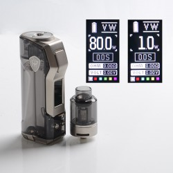 Authentic Rincoe Jellybox Mini 80W Box Mod with Jellytank Kit - Black Clear, 1 x 18650/20700/21700, 1~80W, 4.8ml, 0.3 / 0.15ohm