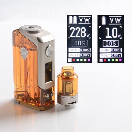 Authentic Rincoe Jellybox 228W Box Mod with Jellytank Kit - Amber Clear, 1~228W, 2 x 18650, 4.8ml, 0.3 / 0.15ohm