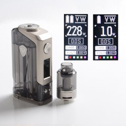 Authentic Rincoe Jellybox 228W Box Mod with Jellytank Kit - Black Clear, 1~228W, 2 x 18650, 4.8ml, 0.3 / 0.15ohm
