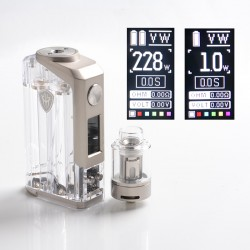 Authentic Rincoe Jellybox 228W Box Mod with Jellytank Kit - Full Clear, 1~228W, 2 x 18650, 4.8ml, 0.3 / 0.15ohm